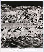 """""""Photograph of the Century"""" of crater Copernicus, printed with study instructions, used during the process of mapping the lunar surface and making navigation charts for landings."""