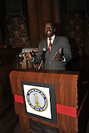 January 11, 2012 - Brooklyn, New York, USA: Mayor Joseph M. Champagne of South Toms River, NJ, speaks at 2nd Annual Interfaith Memorial Service for Haiti, Wednesday night at Brooklyn Borough Hall. Champagne's 19-year-old sister was killed by the Mw 7.0 earthquake at Haiti in 2010.