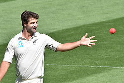 March 26, 2018 - Auckland, Auckland, New Zealand - Coolin de Grandhomme of Blackcaps bowls  during  Day Five of the First Test match between New Zealand and England at Eden Park in Auckland on Mar 26, 2018. (Credit Image: © Shirley Kwok/Pacific Press via ZUMA Wire)