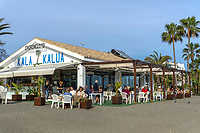Kala Kalua, restaurant, chiringuito, seafront, promenade, San Pedro de Alcantara,, Malaga province, 20190305424<br /><br />Copyright Image from Victor Patterson, Belfast, UK, BT9 5HG<br /><br />t: +44 28 9066 1296 <br />(from Rep of Ireland 048 9066 1296) <br />m: +44 7802 353836 <br />victorpattersonbelfast@gmail.com <br />www.victorpatterson.com<br /><br />Please see my Terms and Conditions of Use at https://www.victorpatterson.com/page2 <br /><br />It is IMPORTANT that you familiarise yourself with them.<br /><br />Images used on the Internet incur an additional cost and must be visibly watermarked i.e. © Victor Patterson within the body of the image and copyright metadata must not be deleted. Images used on the Internet have a size restriction of 4kbs and are chargeable at rates available at victorpatterson.com.<br /><br />This image is only available for the use of the download recipient i.e. television station, newspaper, magazine, book publisher, etc, and must not be passed on to any third party. It is also downloaded on condition that each and every usage is notified within 7 days to victorpattersonbelfast@gmail.com<br /><br />The right of Victor Patterson to be identified as the author is asserted in accordance with The Copyright Designs And Patents Act (1988). All moral rights are asserted.