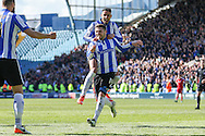 Sheffield Wednesday striker Gary Hooper (14) celebrates his goal 3-0 during the Sky Bet Championship match between Sheffield Wednesday and Cardiff City at Hillsborough, Sheffield, England on 30 April 2016. Photo by Ellie Hoad.