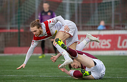 Airdrie's Scott Stewart and Stenhousemuir's Ruaridh Donaldson. Stenhousemuir 1 v 0 Airdrie, Scottish Football League Division One played 26/1/2019 at Ochilview Park.