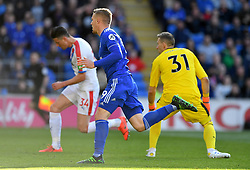 Cardiff City's Danny Ward celebrates after Crystal Palace's Martin Kelly (back left) scores an own-goal for Cardiff City's first during the Premier League match at Cardiff City Stadium.