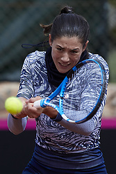 April 21, 2018 - La Manga, Murcia, Spain - Garbine Muguruza of Spain hits a shot in training during day one of the Fedcup World Group II Play-offs match between Spain and Paraguay at Centro de Tenis La Manga Club on April 21, 2018 in La Manga, Spain  (Credit Image: © David Aliaga/NurPhoto via ZUMA Press)