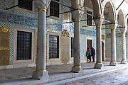 Tourists view Harem quarters at Topkapi Palace, Topkapi Sarayi, part of Ottoman Empire, Istanbul, Republic of Turkey