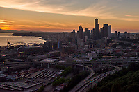 Interstates 5 & 90 Intersection (foreground) & Seattle Skyline