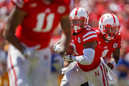 Ameer Adbullah takes a handoff from Tommy Armstrong Jr. during Nebraska's 31-24 win over McNeese State at Memorial Stadium on Sept. 6, 2014.