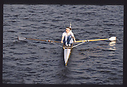 London. United Kingdom.  Susan SMITH . 1990 Scullers Head of the River Race. River Thames, viewpoint Chiswick Bridge Saturday 07.04.1990<br /> <br /> [Mandatory Credit; Peter SPURRIER/Intersport Images] 19900407 Scullers Head, London Engl