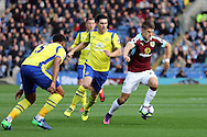 Johann Gudmundsson of Burnley  (r) makes a break. Premier League match, Burnley v Everton at Turf Moor in Burnley , Lancs on Saturday 22nd October 2016.<br /> pic by Chris Stading, Andrew Orchard sports photography.