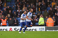 Hallam Hope of Bury celebrates after scoring his teams 4th goal. EFL Skybet football league one match, Bury v Port Vale at Gigg Lane in Bury ,Lancs on Saturday 3rd September 2016.<br /> pic by Chris Stading, Andrew Orchard sports photography.
