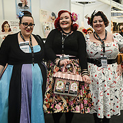 London, UK. 16th February, 2020. Melody Mae of Plus Size Vintage Style Blog at the LondonEdge 2020 | Authentic Lifestyle Fashion Trade Shows and exhibition and Fashion show at Business Design Centre.