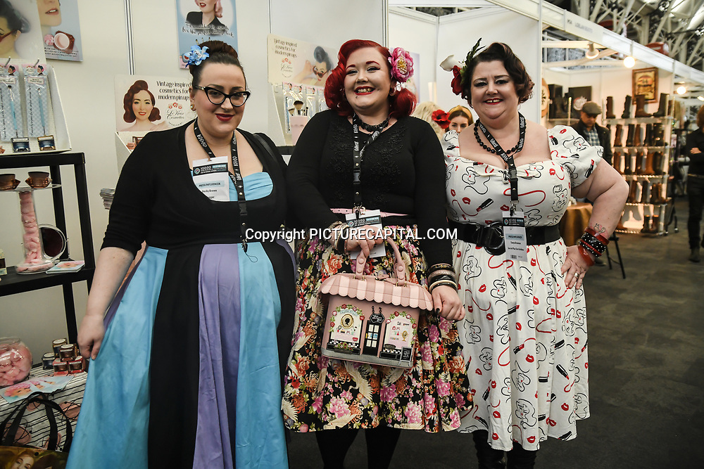 London, UK. 16th February, 2020. Melody Mae of Plus Size Vintage Style Blog at the LondonEdge 2020   Authentic Lifestyle Fashion Trade Shows and exhibition and Fashion show at Business Design Centre.