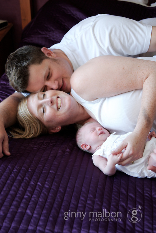 Newborn photo shoot on location in the family's home.
