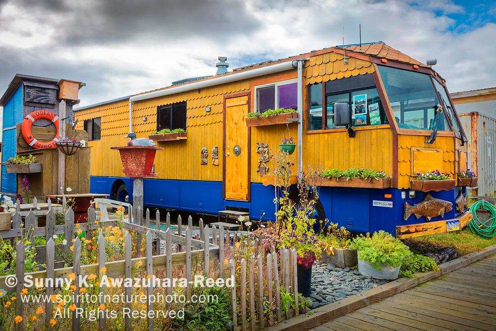 Decorated RV along the boardwalk at Homer Spit, Homer, Kenai Peninsula, Southcentral Alaska, Summer.