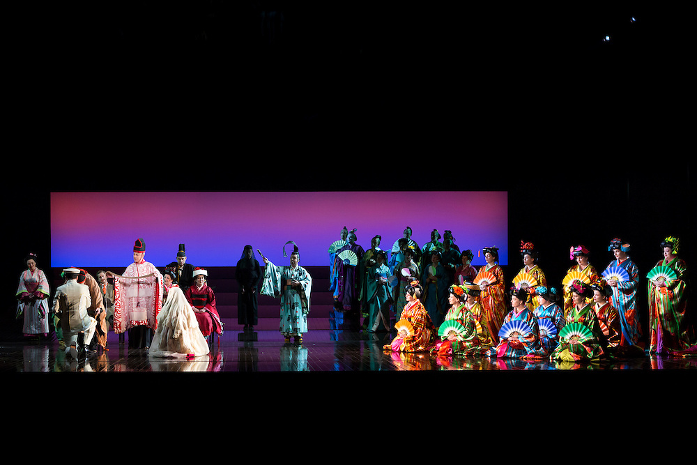 """LONDON, UK, 14 May, 2016. Members of the cast and chorus rehearse for the revival of director Anthony Minghella's production of Puccini's opera """"Madam Butterfly"""" at the London Coliseum for the English National Opera. The production opens on 16 May. Photo credit: Scott Rylander."""