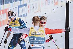 28.02.2021, Oberstdorf, GER, FIS Weltmeisterschaften Ski Nordisch, Oberstdorf 2021, Herren, Langlauf, Teamsprint, Freestyle, im Bild v.l.: Erik Valnes (NOR), Johannes Hoesflot Klaebo (NOR) // f.l.: Erik Valnes of Norway Johannes Hoesflot Klaebo of Norway during men Cross Country team sprint freestyle competition of the FIS Nordic Ski World Championships 2021 in Oberstdorf, Germany on 2021/02/28. EXPA Pictures © 2021, PhotoCredit: EXPA/ Dominik Angerer
