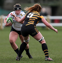 McKinley Hunt of Exeter Chiefs is challenged by Harriet Millar-Mills of Wasps - Mandatory by-line: Arron Gent/JMP - 06/03/2021 - RUGBY - Twyford Avenue - Acton, England - Wasps FC Ladies v Exeter Chiefs Women - Allianz Premier 15s