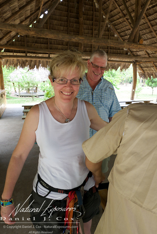 Christine Crosby gets geared up for the zip line ride. Costa Rica.