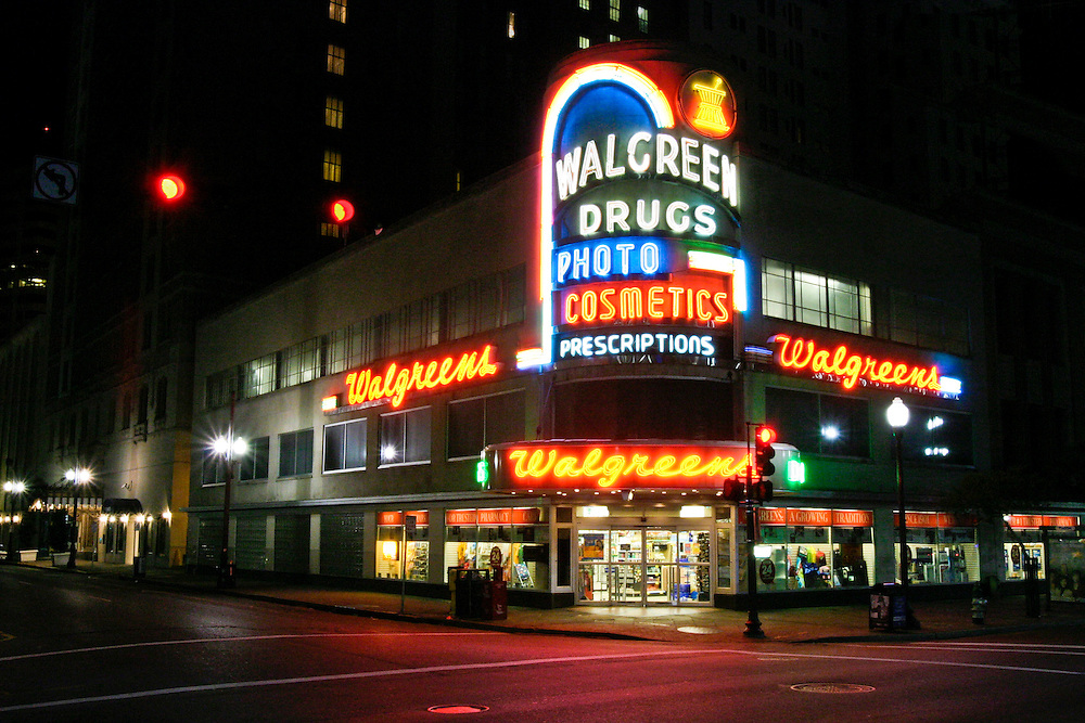 Walgreens opened in 1938 by Charles Rudolph Walgreen at the corners of Canal and Baronne Streets in downtown New Orleans, LA. USA.