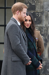 Prince Harry and Meghan Markle at Edinburgh Castle, during their visit to Scotland.