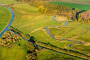 Nederland, Drenthe, Norg, 28-10-2014; beekdal van De Slokker (overgaand in Aa of Grote Diep, ten westen van Norg). In de jaren 60 van de vorige eeuw is de beek gekanaliseerd, er wordt gewerkt aan beekherstel.<br /> Small stream or brook, once channeled, northern provincie Drenthe.<br /> <br /> luchtfoto (toeslag op standaard tarieven);<br /> aerial photo (additional fee required);<br /> copyright© foto/photo Siebe Swart