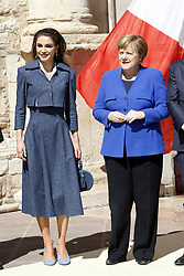 Italy, Assisi  - March 29, 2019.St Francis Basilic. The lamp of the Peace 2019 is given to the King of Jordan..the Queen of Jordan Rania and Angela Merkel (Credit Image: © Zucchi/Insidefoto/Ropi via ZUMA Press)