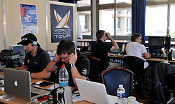 Editing four shows per day for the World Match Racing Tour. Photo: Chris Davies/WMRT
