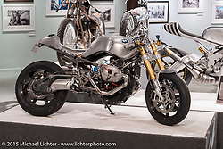 """Jeff Wright's custom BMW R Nine T at Michael Lichter's Motorcycles as Art annual exhibition titled """"The Naked Truth"""" at the Buffalo Chip Gallery during the 75th Annual Sturgis Black Hills Motorcycle Rally.  SD, USA.  August 4, 2015.  Photography ©2015 Michael Lichter."""