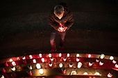 Final vigil at  the makeshift memorial for victims of COVID19