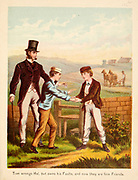 Tom Wrongs Hal but owns his faults and now they are firm friends From the Book '  Sandford and Merton : in words of one syllable ' by Thomas Day, Mary Godolphin and Lucy Aikin, Published in New York by McLoughlin Brother's, Publishers