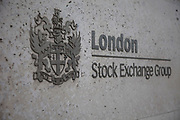 Sign outside the London Stock Exchange Group offices in the City of London.