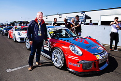 Bristol Sport Owner Steve Lansdown visits Dino Zamparelli  on the grid | Bristol Sport Racing | #88 Porsche 911 GT3 Cup Car | Porsche Carrera Cup GB | Race 2 - Mandatory byline: Rogan Thomson/JMP - 07966 386802 - 23/08/2015 - MOTORSPORT - Knockhill Racing Circuit - Dunfermline, Scotland - BTCC Meeting Day 2.