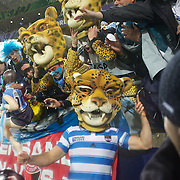 Genaro Fessia, Argentina, wears a Pumas mask as he celebrates his teams 13-12 victory with fans during the Argentina V Scotland, Pool B match at the IRB Rugby World Cup tournament. Wellington Regional Stadium, Wellington, New Zealand, 25th September 2011. Photo Tim Clayton...