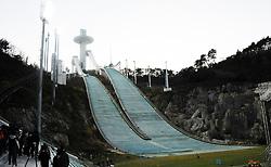 PYEONGCHANG, Oct. 30, 2017  Photo taken on Oct. 30, 2017 shows the Alpensia Ski Jumping Center for the PyeongChang Winter Olympic Games 2018, in Pyeongchang, South Korea. (Credit Image: © Geng Xuepeng/Xinhua via ZUMA Wire)