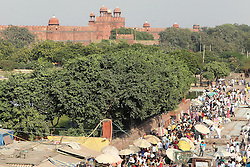 The market outside the Jama Masjid mosque with the Red Fort in the backgroundin Delhi India.  The Commonwealth Games are being held in Delhi India between the 3rd and 14th October 2010..Photoby:  Ron Gaunt/SPORTZPICS
