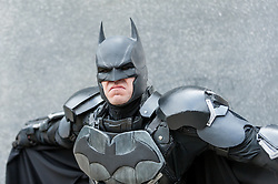 "© Licensed to London News Pictures. 29/05/2016. London, UK. A man dresses as ""Batman"", with homemade armour made from camping mats, as cosplayers visit the Excel Centre on the last day of the popular MC Comic Con, a three day event celebrating games, anime, movies and more. Photo credit : Stephen Chung/LNP"