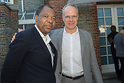 Okwui Enwezor; HANS ULRICH-OBRIST, Party  to celebrate Julia Peyton-Jones's  25 years at the Serpentine. London. 20 June 2016