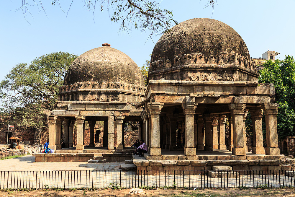 The Madrasa pavilion in Hauz Khas or Royal Tank Complex in New Delhi, India. Established in 1352, the Madrasa was one of the leading institutions of Islamic learning in the Delhi Sultanate. It was also considered the largest and best equipped Islamic seminary anywhere in the world.