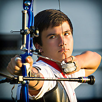 October 03, 2013: Eric Peters gets in one last training session at the Aréna Baribeau in Gatineau, Quebec. Eric will be representing Canada at the 2013 World Youth Archery Championship in Wuxi, China, October 13-20.