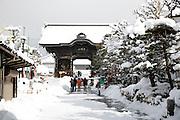 entrance gate at the Zenko-ji temple Nagano Japan