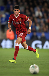 """Liverpool's Dominic Solanke during the Carabao Cup, third round match at the King Power Stadium, Leicester. PRESS ASSOCIATION Photo. Picture date: Tuesday September 19, 2017. See PA story SOCCER Leicester. Photo credit should read: Mike Egerton/PA Wire. RESTRICTIONS: EDITORIAL USE ONLY No use with unauthorised audio, video, data, fixture lists, club/league logos or """"live"""" services. Online in-match use limited to 75 images, no video emulation. No use in betting, games or single club/league/player publications."""