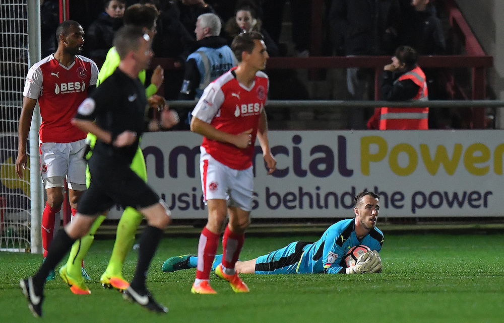 Fleetwood Town's Alex Cairns makes yet another good save<br /> <br /> Photographer Dave Howarth/CameraSport<br /> <br /> The Emirates FA Cup - First Round Replay - Fleetwood Town v Southport - Tuesday 15th November 2016 - Highbury Stadium - Fleetwood<br />  <br /> World Copyright © 2016 CameraSport. All rights reserved. 43 Linden Ave. Countesthorpe. Leicester. England. LE8 5PG - Tel: +44 (0) 116 277 4147 - admin@camerasport.com - www.camerasport.com