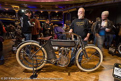 Mike Lange with his 1911 single cylinder Harley-Davidson Model 7A at the Mama Tried Show. Milwaukee, WI. USA. Saturday February 24, 2018. Photography ©2018 Michael Lichter.