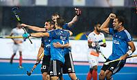 BHUBANESWAR -  Hockey World League finals , Semi Final . Argentina v India. Gonzalo Peillat (Arg) scored and celebrates the goal.   COPYRIGHT KOEN SUYK