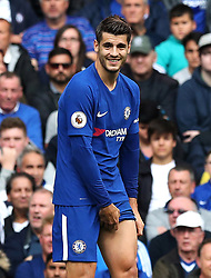 """Chelsea's Alvaro Morata during the Premier League match at Stamford Bridge, London. PRESS ASSOCIATION Photo. Picture date: Sunday September 17, 2017. See PA story SOCCER Chelsea. Photo credit should read: Jonathan Brady/PA Wire. RESTRICTIONS: EDITORIAL USE ONLY No use with unauthorised audio, video, data, fixture lists, club/league logos or """"live"""" services. Online in-match use limited to 75 images, no video emulation. No use in betting, games or single club/league/player publications."""
