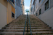 Steps in a steep alleyway, Lisbon, Portugal