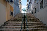 Steps in a steep alleyway, Lisbon, Portugal