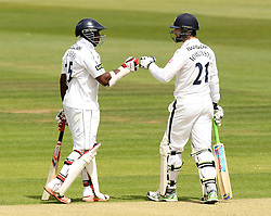 Hampshire's James Tomlinson and Hampshire's Michael Carberry fist bump - Photo mandatory by-line: Robbie Stephenson/JMP - Mobile: 07966 386802 - 23/06/2015 - SPORT - Cricket - Southampton - The Ageas Bowl - Hampshire v Somerset - County Championship Division One