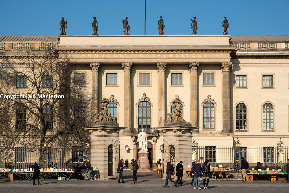 Exterior view of Humboldt University on Unter den Linden in Mitte, Berlin, Germany