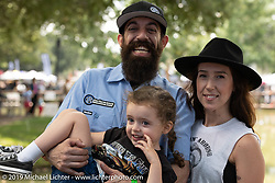 Christin and Sean Delshadi with their daughter at the Born Free Motorcycle Show (BF11) at Oak Canyon Ranch, Silverado  CA, USA. Saturday, June 22, 2019. Photography ©2019 Michael Lichter.